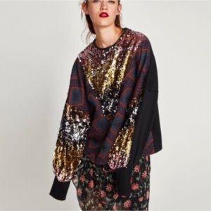 NWOT Zara Oversized Sequin Sweater